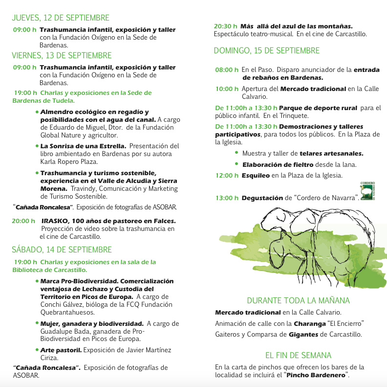 PROGRAMA FIESTA DE LOS USOS TRADICIONALES DE LA TRASHUMANCIA EN BARDENAS 2019